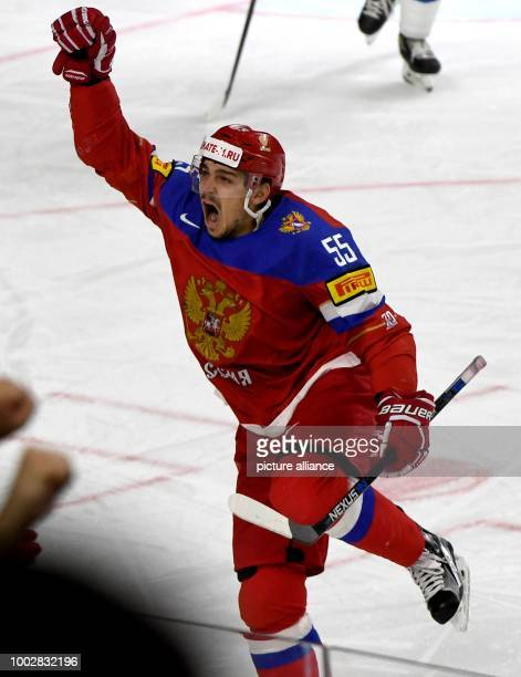Bogdan Kiselevich celebrates after scoring the 40 for Russia during the Ice Hockey World Championship thirdplace match between Finland and Russia in...
