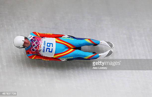 Bogdan Macovei of the Republic of Moldova makes a run during the Luge Men's Singles on Day 1 of the Sochi 2014 Winter Olympics at the Sliding Center...