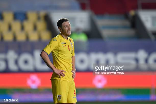 Bogdan Mitrea of Romania in action during the international friendly match between Romania and Belarus at Ilie Oana stadium on November 11, 2020 in...
