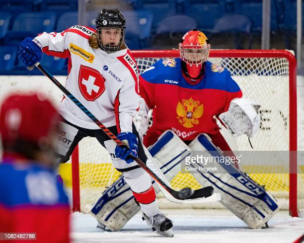 Bogdan Nefyodov of the U17 Russian Nationals follows the play next to Keanu Derungs of the Switzerland Nationals during day one of game one of the...