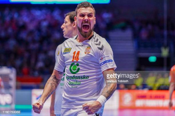 Bogdan Radivojevic of Serbia celebrates during the Group A - Men's EHF EURO 2020 match between Belarus and Serbia at Stadthalle Graz on January 9,...