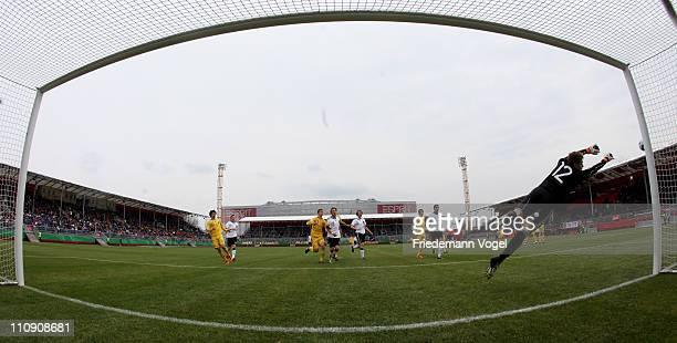 Bogdan Sarnavskyy of Ukraine saves the ball during the UEFA U17 European Championship Elite Round match between Germany and Ukraine at Air Berlin...