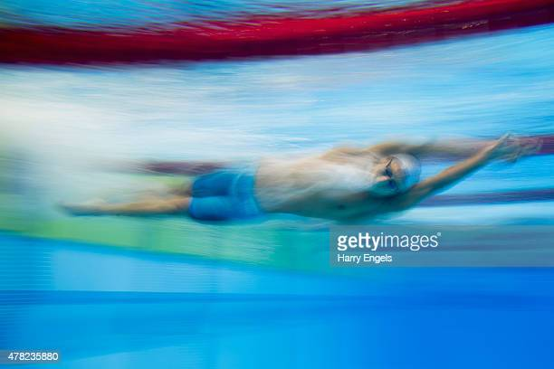Bogdan Scarlat of Romania competes in the Men's 1500m Freestyle Heats during day twelve of the Baku 2015 European Games at the Baku Aquatics Centre...