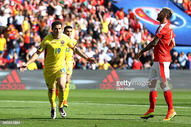 Bogdan Stancu of Romania celebrates scoring his sides first goal during the UEFA EURO 2016 Group A match between Romania and Switzerland at Parc des...