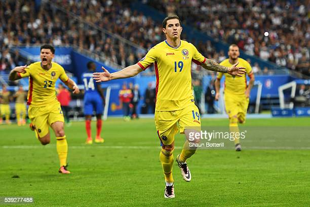 Bogdan Stancu of Romania celebrates scoring his team's first goal during the UEFA Euro 2016 Group A match between France and Romania at Stade de...