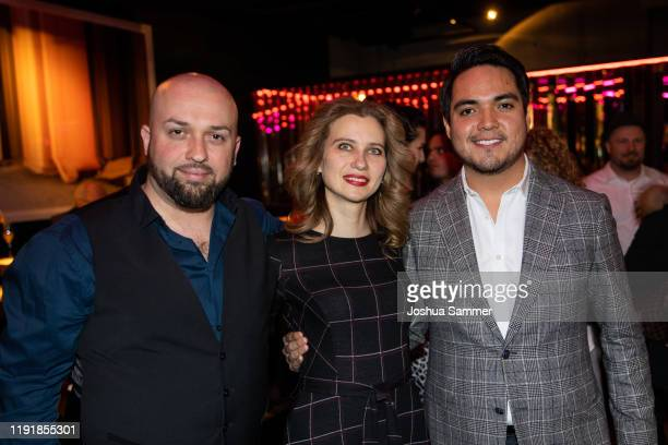 Bogdan Talos Anastasiya Titovych and Jorge Espino are seen during the press event One Bellini with Rolando Villazon on the occasaion of the new...