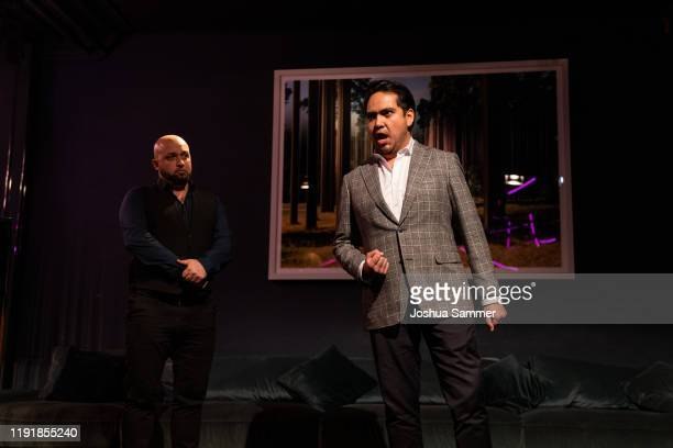 Bogdan Talos and Jorge Espino perform during the press event One Bellini with Rolando Villazon on the occasaion of the new staging of the Bellini...