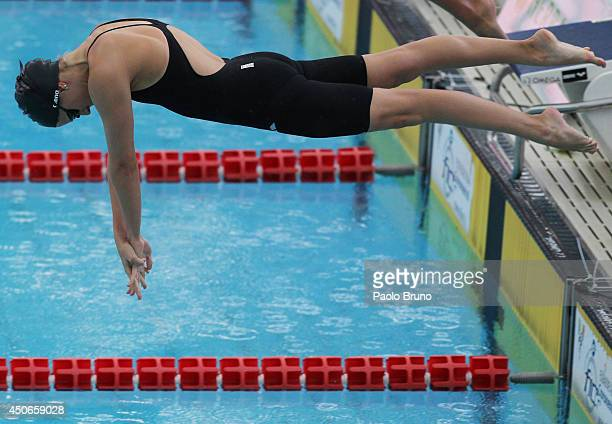 Boglararka Kapas of Hungary competes in the women's 800 m Freestyle Final during the International Settecolli Trophy at Piscine del Foro Italico on...