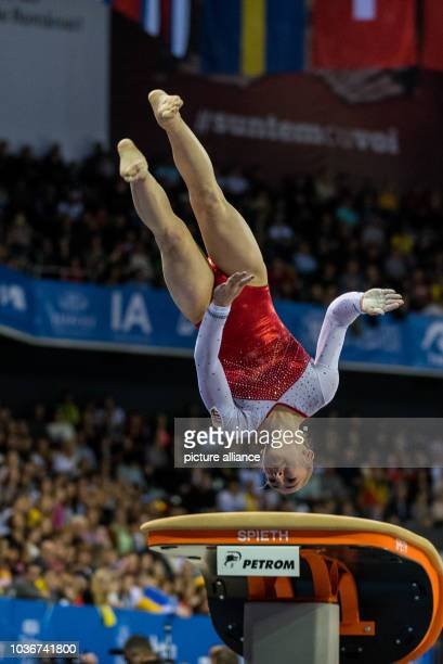 Boglarka Devai performs on the vault during the Women's Apparatus Finals at the European Men's and Women's Artistic Gymnastics Championships in Cluj...