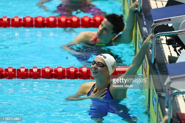 Boglarka Kapas of Hungary celebrates after the Women's 200m Butterfly Final on day five of the Gwangju 2019 FINA World Championships at Nambu...