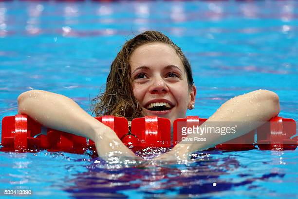 Boglarka Kapas of Hungary celebrates after winning the Women's 50m Breaststroke Final on day fourteen of the 33rd LEN European Swimming Championships...