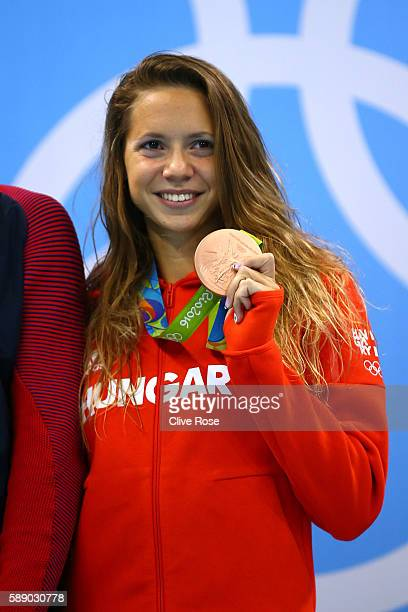Boglarka Kapas of Hungary celebrates on the podium after winning bronze in the Women's 800m Freestyle Final on Day 7 of the Rio 2016 Olympic Games at...