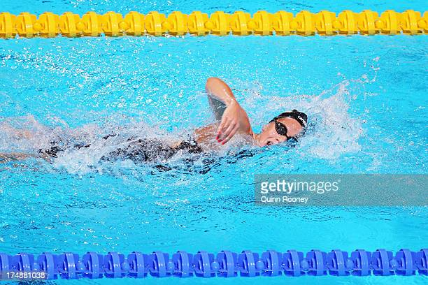 Boglarka Kapas of Hungary competes during the Swimming Women's 1500m Freestyle heat two on day ten of the 15th FINA World Championships at Palau Sant...