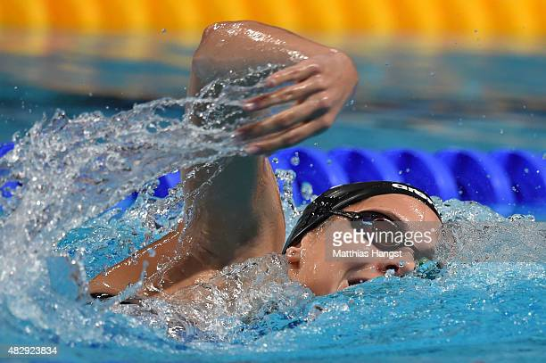 Boglarka Kapas of Hungary competes in the Women's 1500m Freestyle Final on day eleven of the 16th FINA World Championships at the Kazan Arena on...