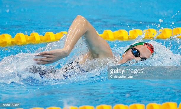 Boglarka Kapas of Hungary in action in the Women's 1500m Freestyle Preliminary during Day 12 of the 33rd LEN European Swimming Championships 2016 at...