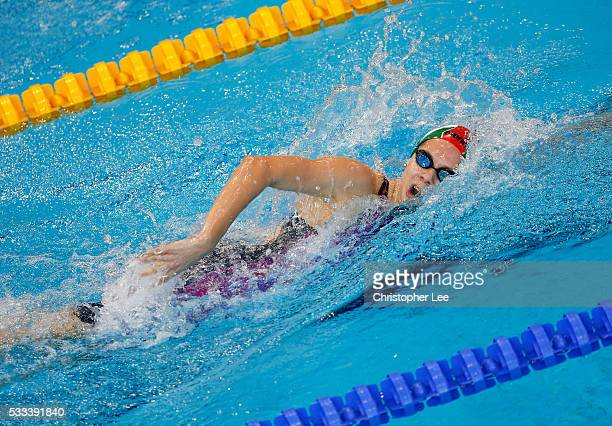 Boglarka Kapas of Hungary in action in the Women's 400m Freestyle Preliminary during Day 14 of the 33rd LEN European Swimming Championships 2016 at...