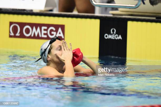 Boglarka Kapas of Hungary looks dejected after the Women's 800m freestyle on day three of the FINA Swimming World Cup at Tokyo Tatsumi International...