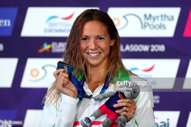 Boglarka Kapas of Hungary poses with her Gold medal in the Women's Butterfly during the swimming on Day five of the European Championships Glasgow...