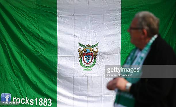 Bognor Regis flag on display during the FA Trophy Semi Final 1st Leg match between Bognor Regis Town and Grimsby Town at Neywood Lane on March 12...