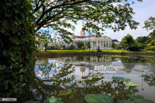 bogor palace, president palace, seen from botanical garden. - bogor stock pictures, royalty-free photos & images