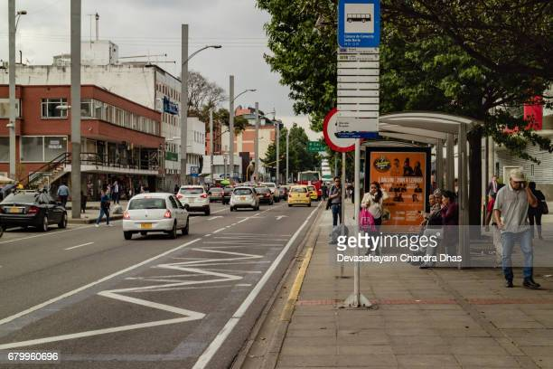 Bogotá, Colombia - Bus Stop on Carrera Quince and Traffic Moving Northwards