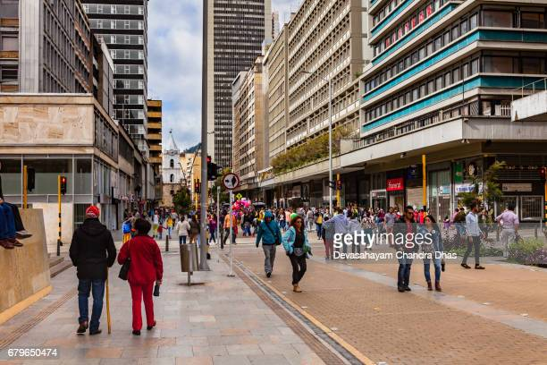 Bogotá, Colombia - Carrera Septima in the Downtown Area - this Section is for Pedestrians Only