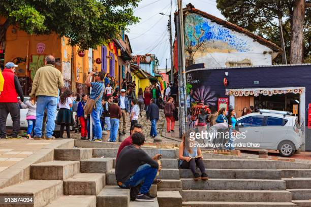 Bogotá, Colombia - Freshly Constructed Steps In The Historic La Candelaria District of The Andean Capital City. Background: Calle Del Embudo.