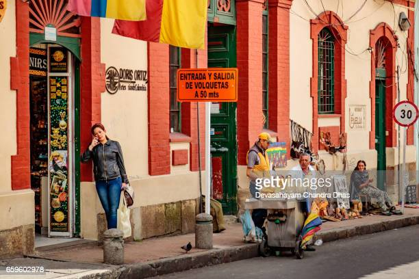Bogotá, Colombia - Shops and Street Food in La Candelaria, the Historical Centre of the Capital City.