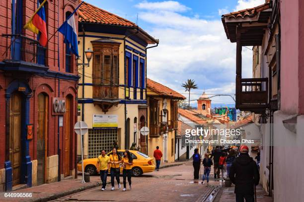 Bogotá Colombia - Spanish Colonial Architecture, Colourful Walls and Narrow Streets in the Historic La Candelaria District,  in the Andean Capital City