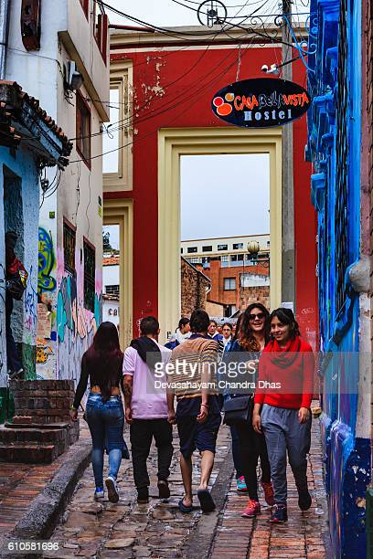 Bogotá, Colombia - The Gateway That Leads To The Chorro De Quevedo At The Narrowest End Of The Colorful, Cobblestoned Calle del Embudo, In The Historic La Candelaria
