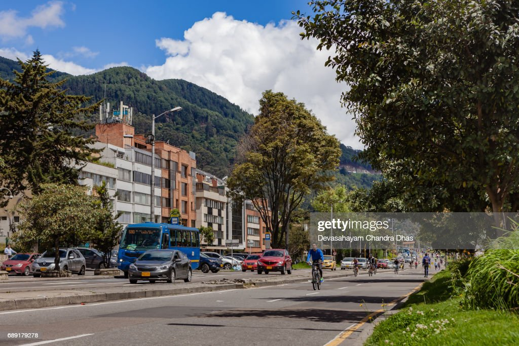 Bogotá, Colombia -  The Weekly, Sunday Morning Ciclovia in Usaquén, When People Come Out in Their Thousands to Cycle, Rollerblade or Just Jog in the Andean Capital City : Stock Photo