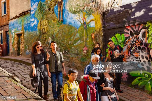 Bogotá, Colombia - Tourists and Local Colombians on the Narrow, Cobblestoned Calle del Embudo