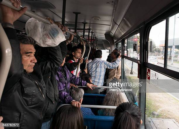 Bogotá Republic of Colombia August 1 2015 Atmosphere photo in the TransMilenio TransMilenio is a bus rapid transit system that serves Bogotá The...