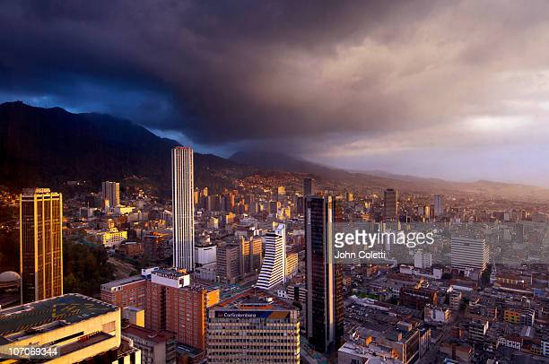 bogota at sunset - bogota stock pictures, royalty-free photos & images