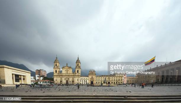 Bogota cathedral, Capilla del Sagrario and Capitolio Nacional on Bolivar Square (Plaza Bolivar) in Bogota, Colombia