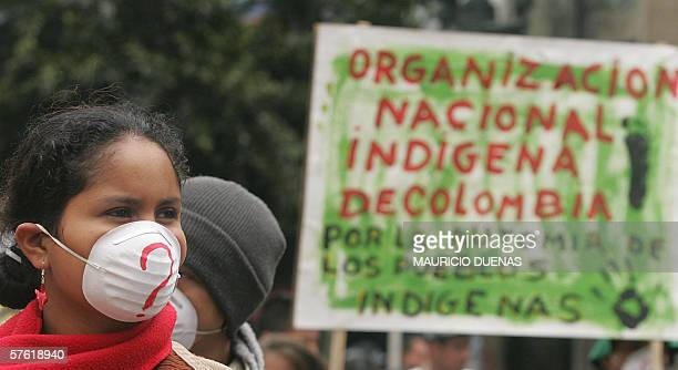 A member of the Inga ethnics marchs 15 May in Bogota during a demonstration against the Free Trade Agreement with the US and the possible reelection...