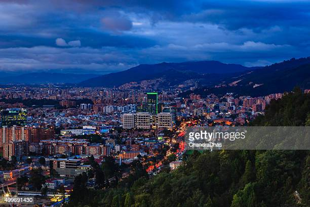 Bogota, Colombia: Barrio de Usaquen, after sunset, from La Calera