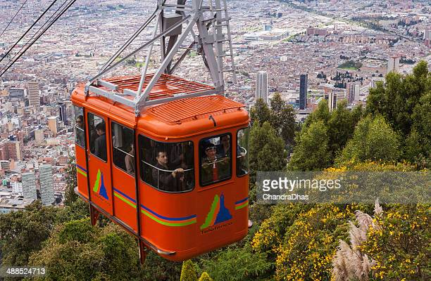 Bogota, Colombia: Cable Car approaching the Andean peak of Monserrate