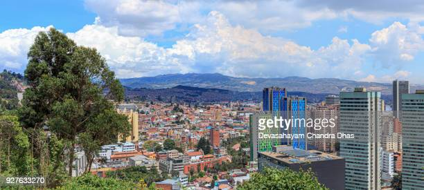 Bogota, Colombia - High Angle Panoramic View of the South American Capital City On The Andes Mountains - Contrast Of Old And New