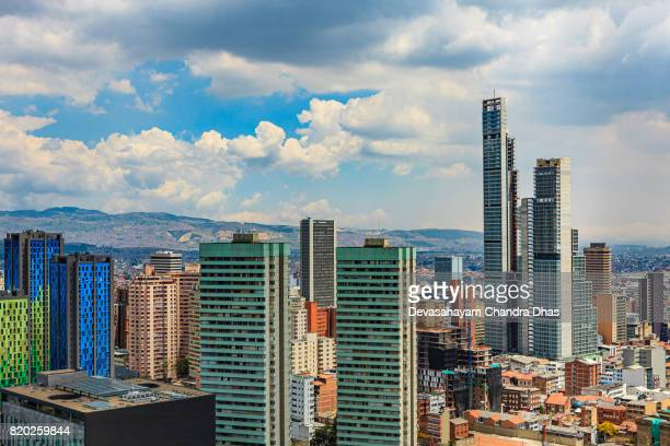 bogota colombia: high angle view of modern buildings in downtown bogota including bd bacata, the tallest building in the country - bogota stock pictures, royalty-free photos & images