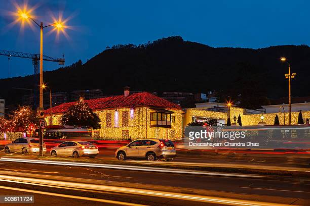 Bogota, Colombia: Light trails and Christmas lights on the Andes