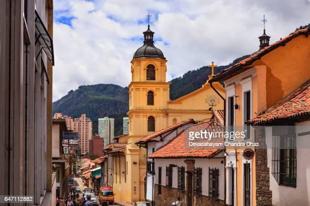Bogota, Colombia - One of the Baroque Bell Towers of Iglesia de Nuestra Senora de la Candelaria