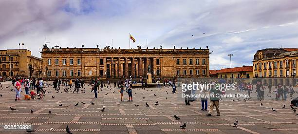 Bogota, Colombia: Parliament Building on Plaza Bolivar; Overcast afternoon.