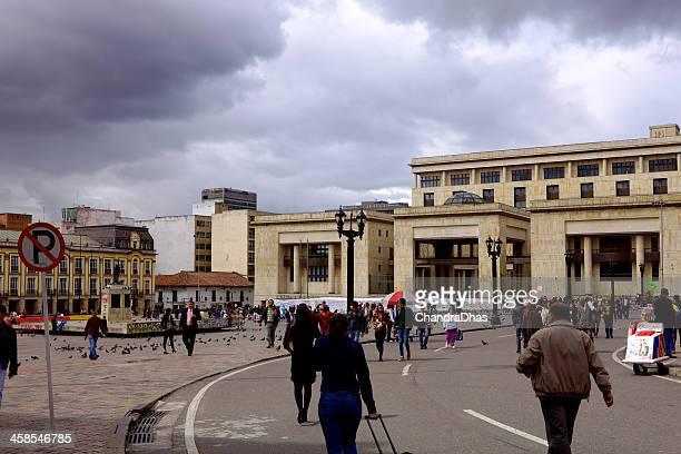Bogota, Colombia - Plaza Bolivar, People and Pigeons