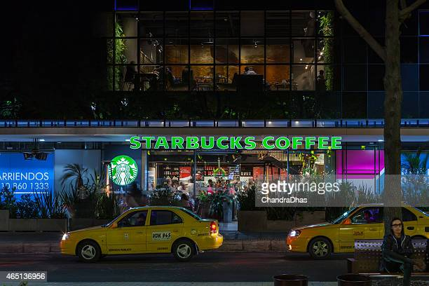 Bogota, Colombia: Starbucks Coffee Shop on Calle 93A, night photo