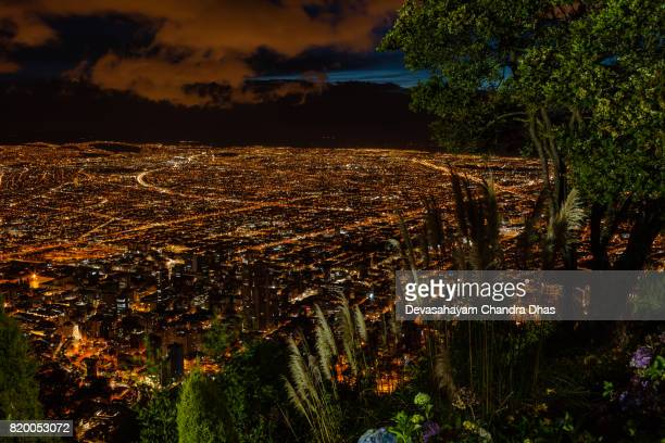 Bogota, Colombia - Striking High Angle View of the Capital City from the Andean Peak of Monserrate after Sunset