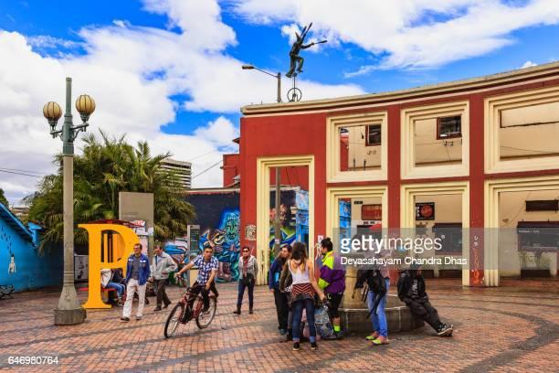 Bogota, Colombia - Tourists and Local People on Plaza Chorro de Quevedo in the La Candelaria District