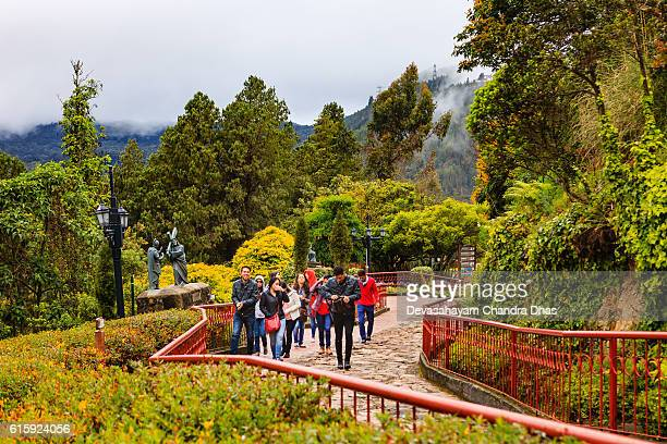 Bogota, Colombia - Tourists on Monserrate Peak on Andes Mountains
