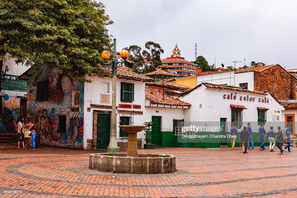 Bogota, Colombia - Tourists on Plaza Chorro de Quevedo : Stock Photo