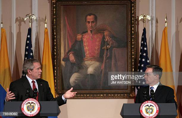 US President George W Bush speaks during a joint press conference with Colombian President Alvaro Uribe at the Casa de Narino presidential palace in...